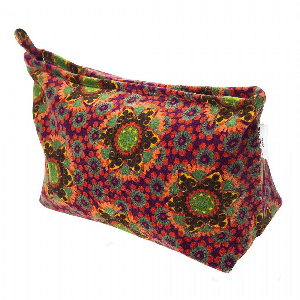 Patterned Cotton Velvet Washbag - Gustave Fig